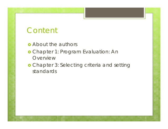 Program evaluation 20121016 Slide 2