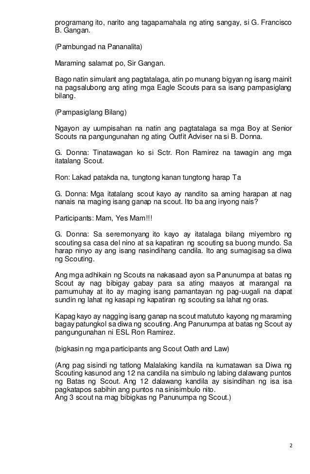 Program for investiture tagalog version Script and Spiel