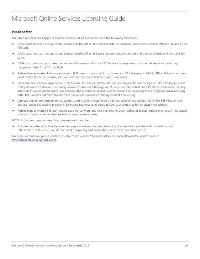 Microsoft Online Services Licensing Guide U2013 December 2012 13; 16.