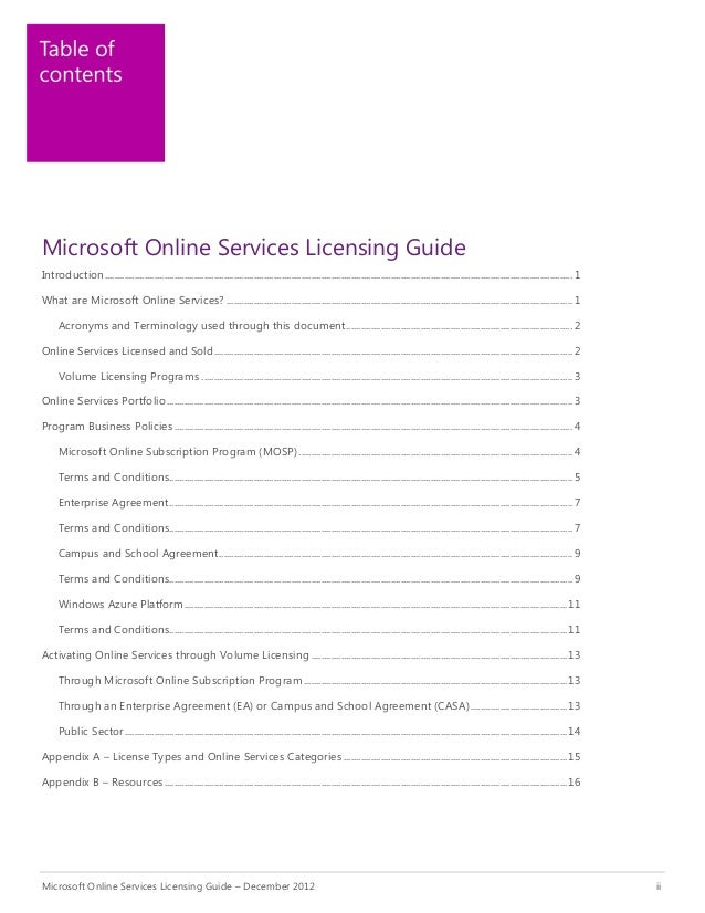 Microsoft Online Services Licensing Guide
