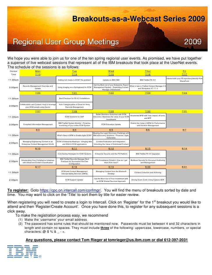 Breakouts-as-a-Webcast Series 2009     We hope you were able to join us for one of the ten spring regional user events. As...