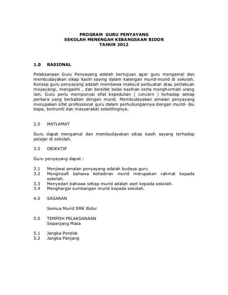 PROGRAM GURU PENYAYANG             SEKOLAH MENENGAH KEBANGSAAN BIDOR                         TAHUN 20121.0   RASIONALPelak...