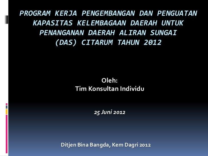 PROGRAM KERJA PENGEMBANGAN DAN PENGUATAN   KAPASITAS KELEMBAGAAN DAERAH UNTUK     PENANGANAN DAERAH ALIRAN SUNGAI        (...