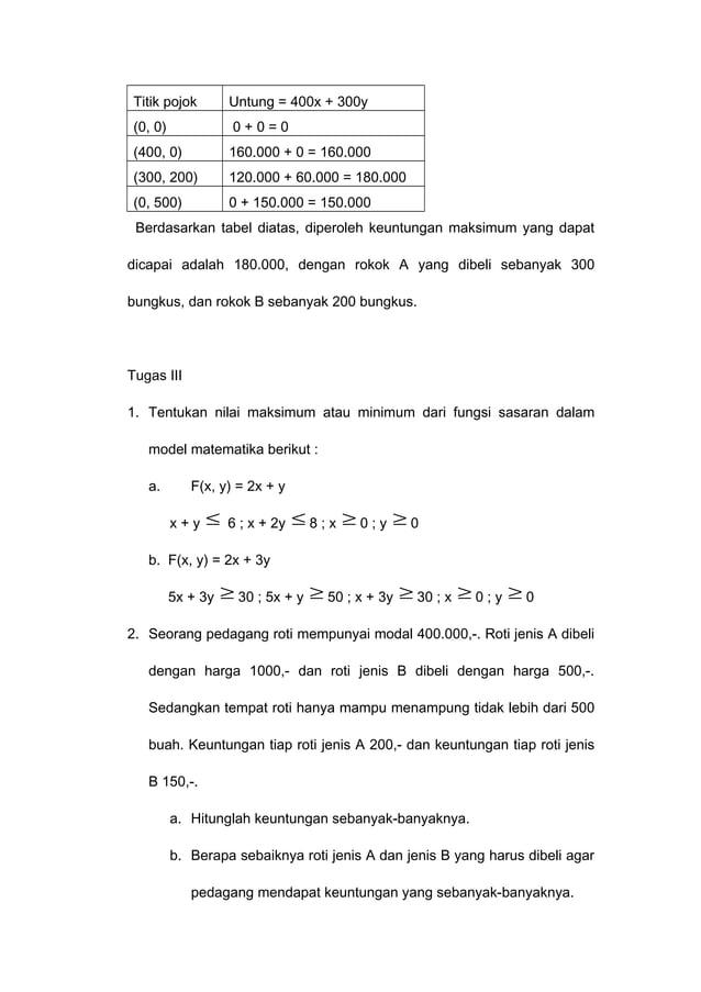 Titik pojok Untung = 400x + 300y (0, 0) 0 + 0 = 0 (400, 0) 160.000 + 0 = 160.000 (300, 200) 120.000 + 60.000 = 180.000 (0,...