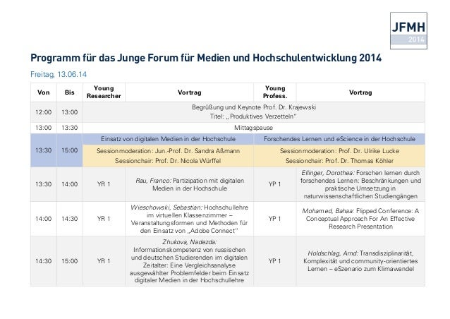 Programm für das Junge Forum für Medien und Hochschulentwicklung 2014 Freitag, 13.06.14 Von Bis Young Researcher Vortrag Y...