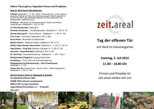 Offene Türen gibt es folgenden Firmen und Projekten: Bereich Wirtschaft & Dienstleistung: It-Werke Gebäude H – 2. OG - tec...