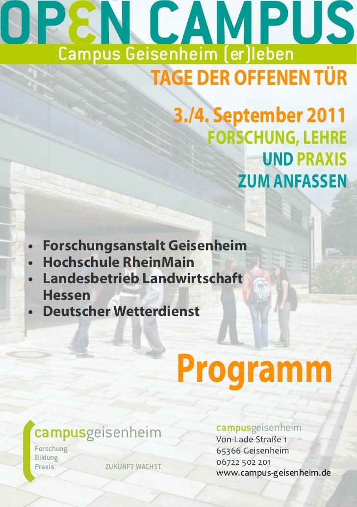 OP N CAMPUS       Campus Geisenheim (er)leben                         TAGE DER OFFENEN TÜR                                ...
