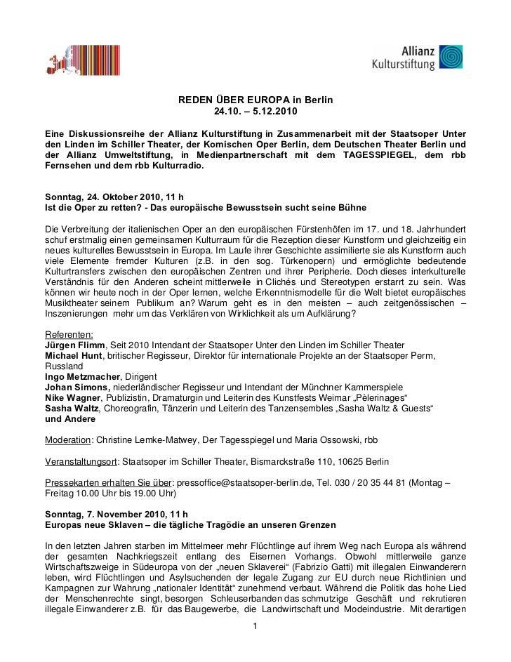 REDEN ÜBER EUROPA in Berlin                                     24.10. – 5.12.2010Eine Diskussionsreihe der Allianz Kultur...