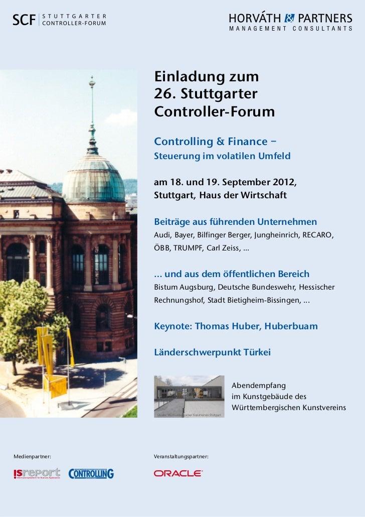 Einladung zum                 26. Stuttgarter                 Controller-Forum                 Controlling & Finance –    ...
