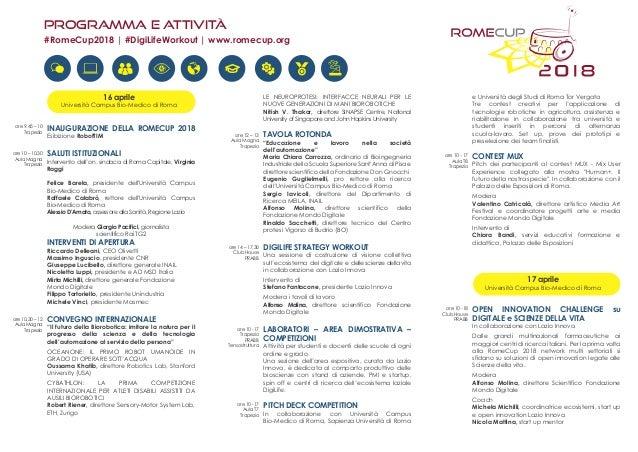 Programma e attività 16 aprile Università Campus Bio-Medico di Roma INAUGURAZIONE DELLA ROMECUP 2018 Esibizione RobotTIM S...