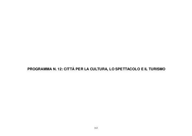 PROGRAMMA N. 12: CITTÀ PER LA CULTURA, LO SPETTACOLO E IL TURISMO                               163