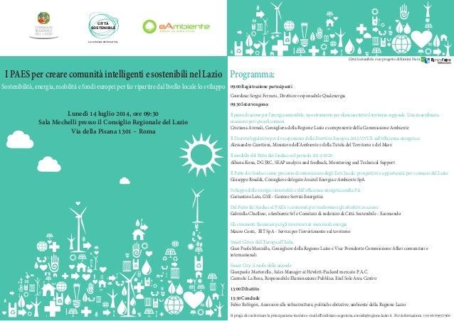 IPAESpercrearecomunitàintelligentiesostenibilinelLazio Sostenibilità, energia, mobilità e fondi europei per far ripartire ...