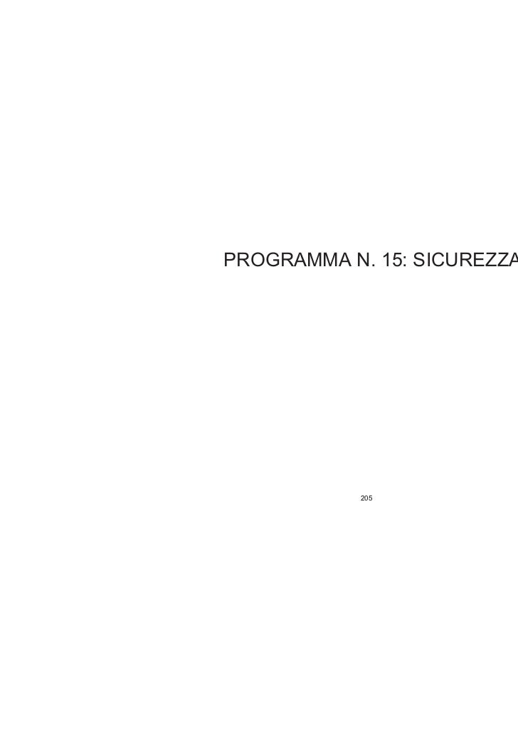 PROGRAMMA N. 15: SICUREZZA           205