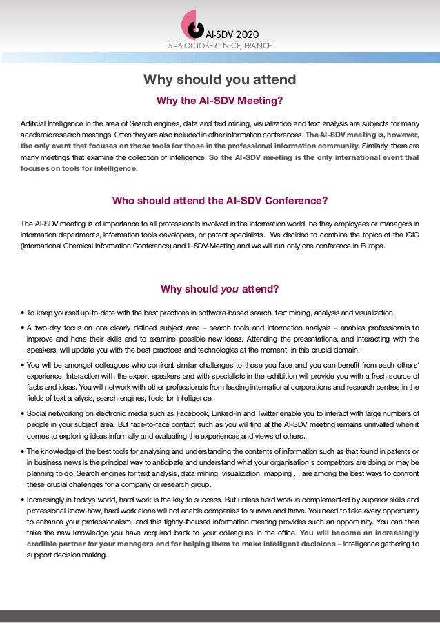 Why should you attend Why the AI-SDV Meeting? Artificial Intelligence in the area of Search engines, data and text mining,...