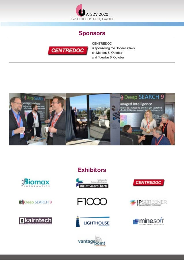 Sponsors CENTREDOC is sponsoring the Coffee Breaks on Monday 5. October and Tuesday 6. October Exhibitors 5–6 OCTOBER . NI...