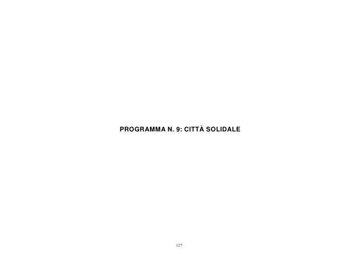 PROGRAMMA N. 9: CITTÀ SOLIDALE             127