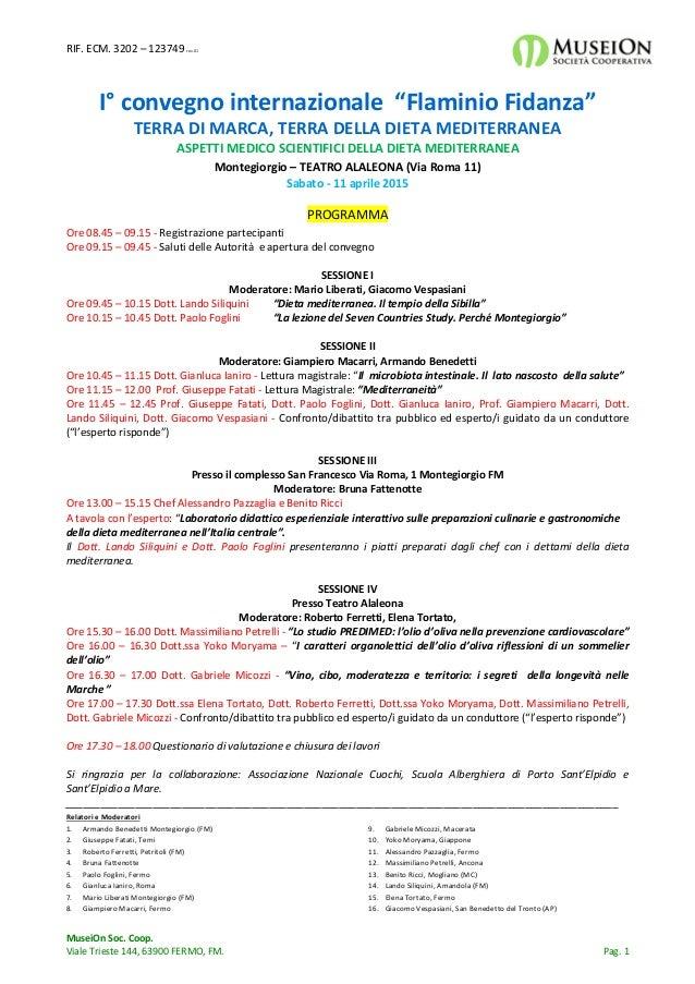 """RIF. ECM. 3202 – 123749 rev.01 MuseiOn Soc. Coop. Viale Trieste 144, 63900 FERMO, FM. Pag. 1 I° convegno internazionale """"F..."""