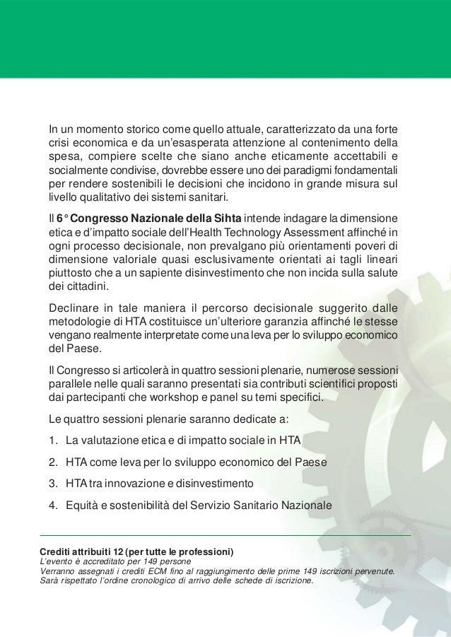 Programma definitivo 6° congresso nazionale sihta Slide 2