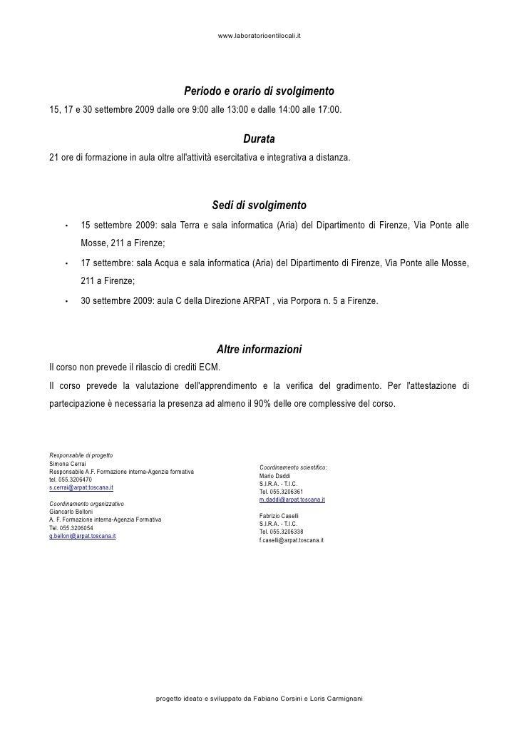 www.laboratorioentilocali.it                                                       Periodo e orario di svolgimento 15, 17 ...