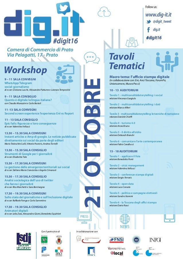 NEWS Tavoli Tematici PRESS #digit16 #digit16 21OTTOBRE Workshop Macro tema: l'ufficio stampa digitale (in collaborazione c...