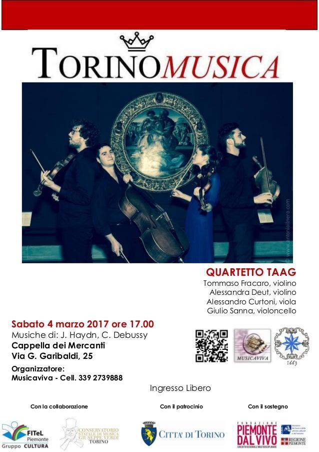 QUARTETTO TAAG Tommaso Fracaro, violino Alessandra Deut, violino Alessandro Curtoni, viola Giulio Sanna, violoncello Sabat...