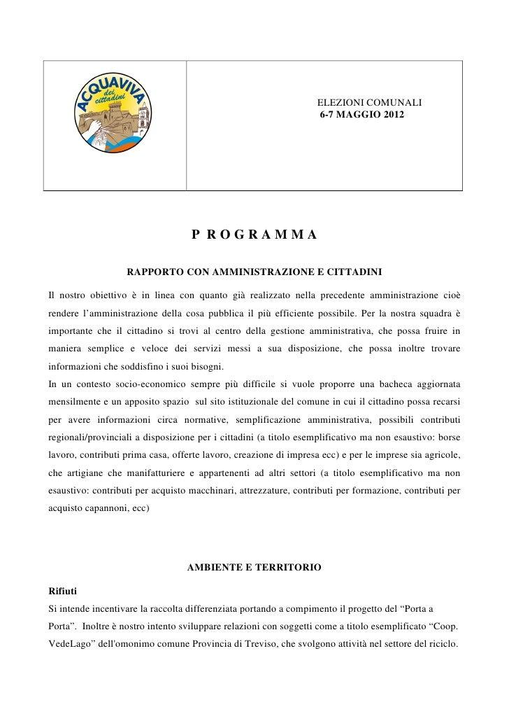 ELEZIONI COMUNALI                                                                   6-7 MAGGIO 2012                       ...