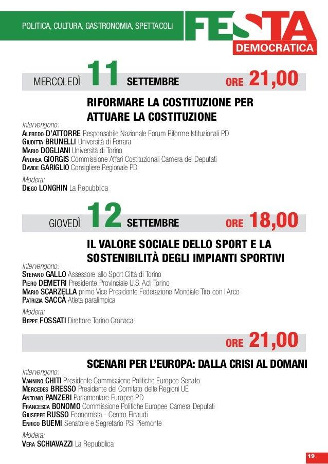 Programma festa democratica 2013 torino for Carretta arredamenti torino