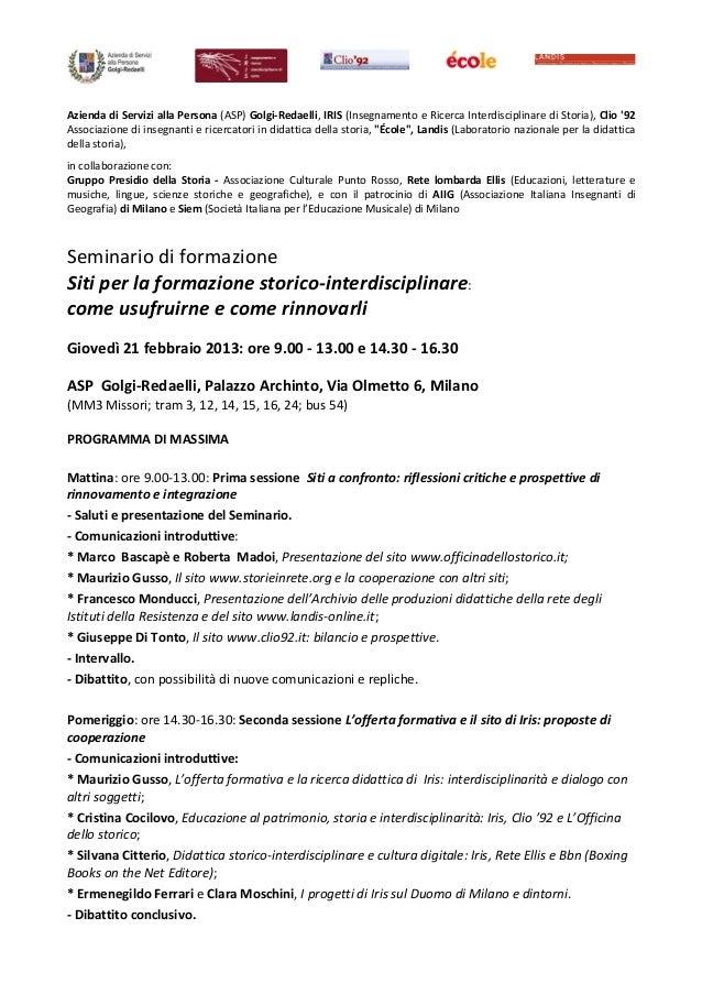 Azienda di Servizi alla Persona (ASP) Golgi‐Redaelli, IRIS (Insegnamento e Ricerca Interdisciplinare di Storia), Clio 92As...