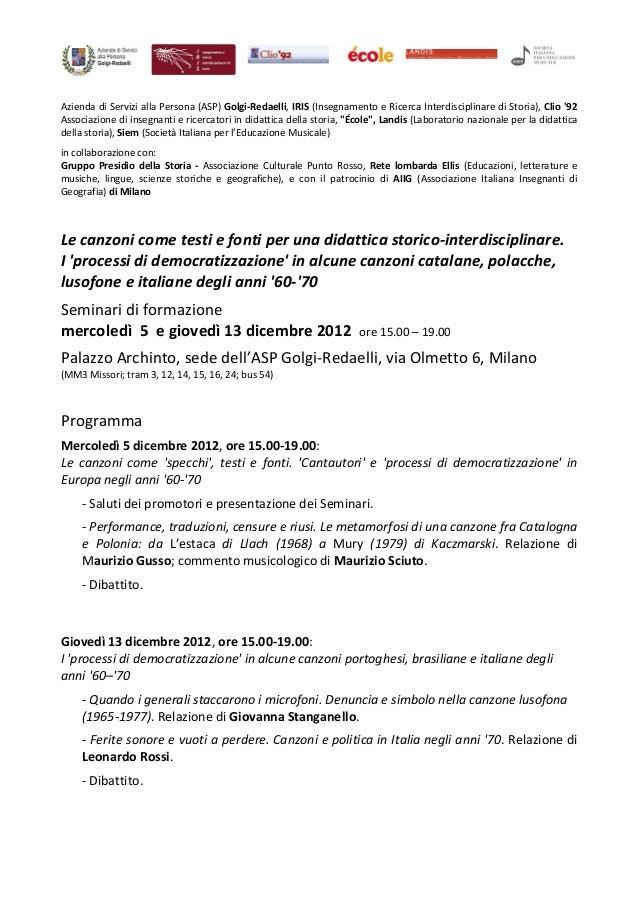 Azienda di Servizi alla Persona (ASP) Golgi-Redaelli, IRIS (Insegnamento e Ricerca Interdisciplinare di Storia), Clio 92As...