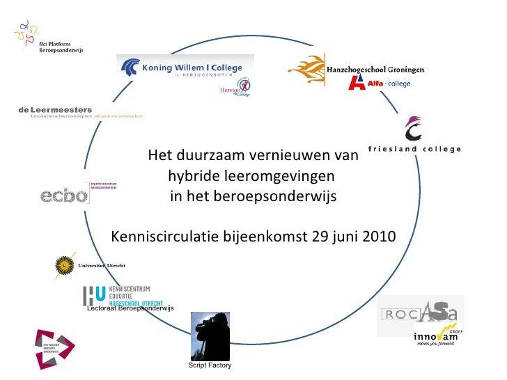 Het duurzaam vernieuwen van hybride leeromgevingen  in het beroepsonderwijs Kenniscirculatie bijeenkomst 29 juni 2010 Lect...