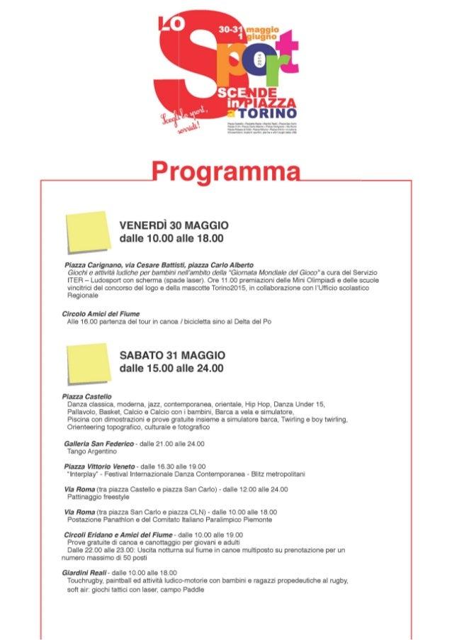 Programma lo sport scende in piazza 2014