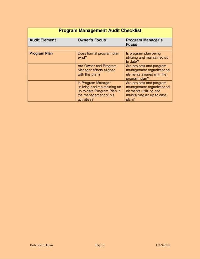 Program management audit checklist