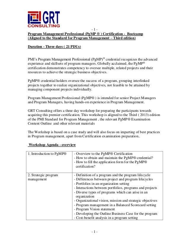 program management professional certification bangalore slideshare