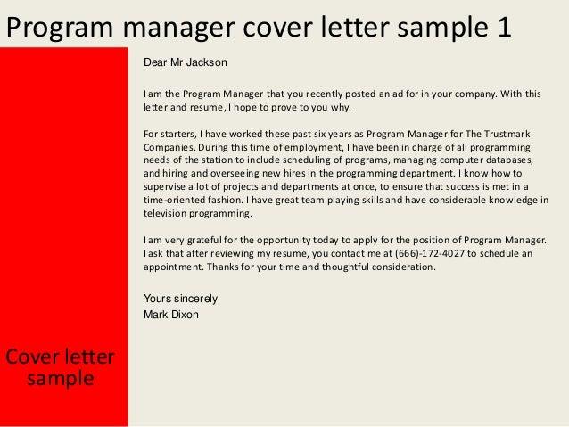 Program manager cover letter
