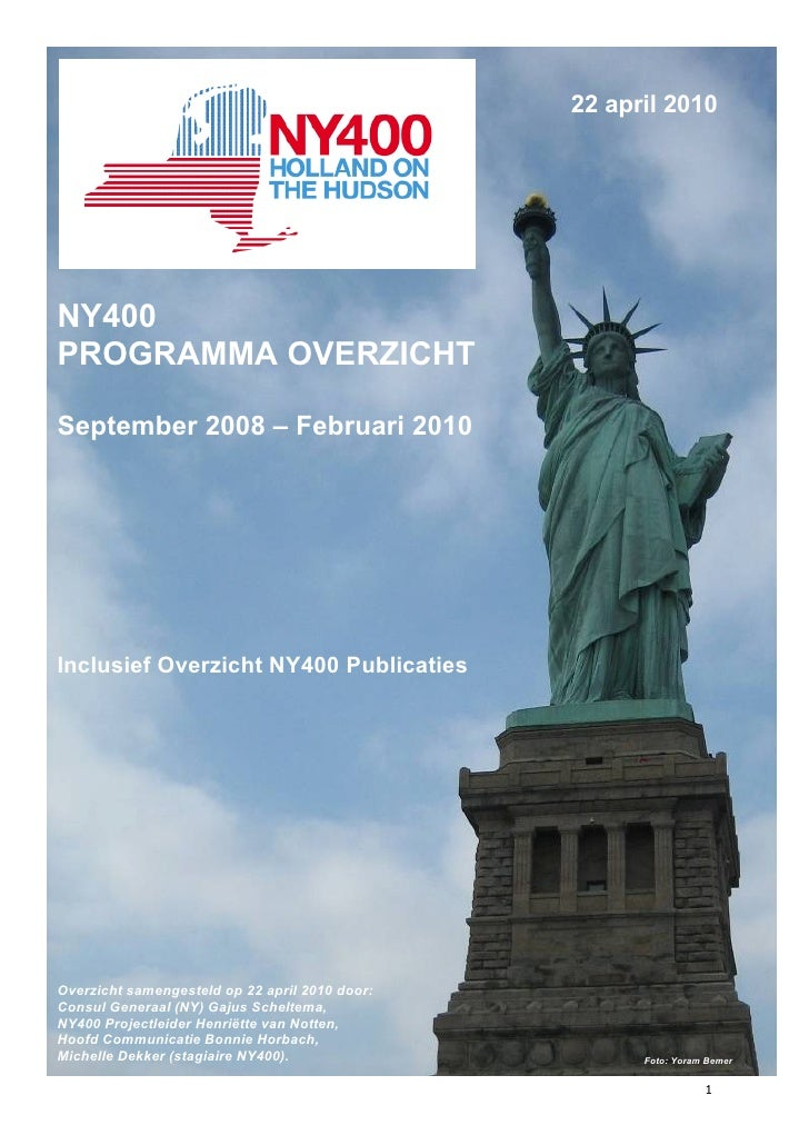 Bijlage 1 – Programmaoverzicht NY400                                                                           22 april 20...