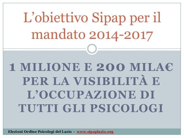 L'obiettivo Sipap per il mandato 2014-2017 1 MILIONE E 200 MILA€ PER LA VISIBILITÀ E L'OCCUPAZIONE DI TUTTI GLI PSICOLOGI ...