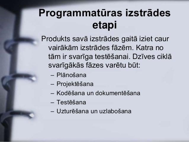 Programmatūras izstrādes        etapiProdukts savā izstrādes gaitā iziet caur  vairākām izstrādes fāzēm. Katra no  tām ir ...