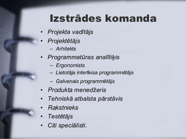 Izstrādes komanda• Projekta vadītājs• Projektētājs    – Arhitekts• Programmatūras analītiķis    – Ergonomists    – Lietotā...