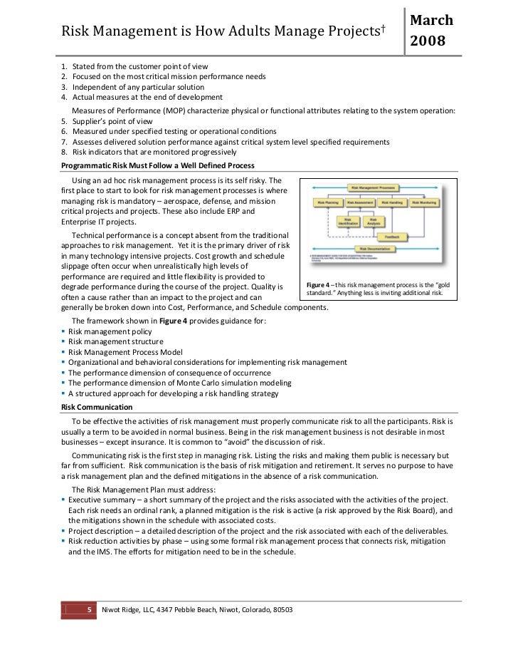 Programmatic risk management