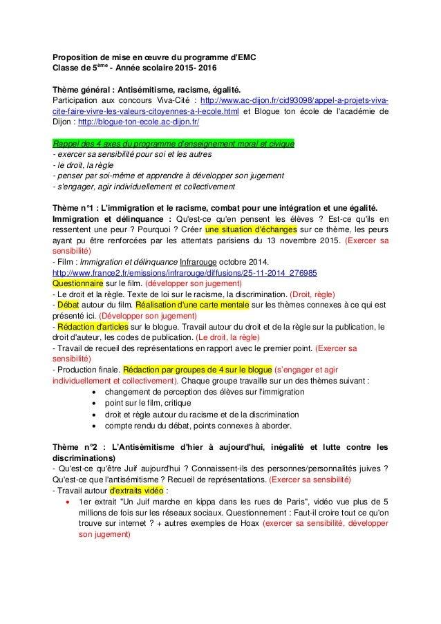Proposition de mise en œuvre du programme d'EMC Classe de 5ème - Année scolaire 2015- 2016 Thème général : Antisémitisme, ...