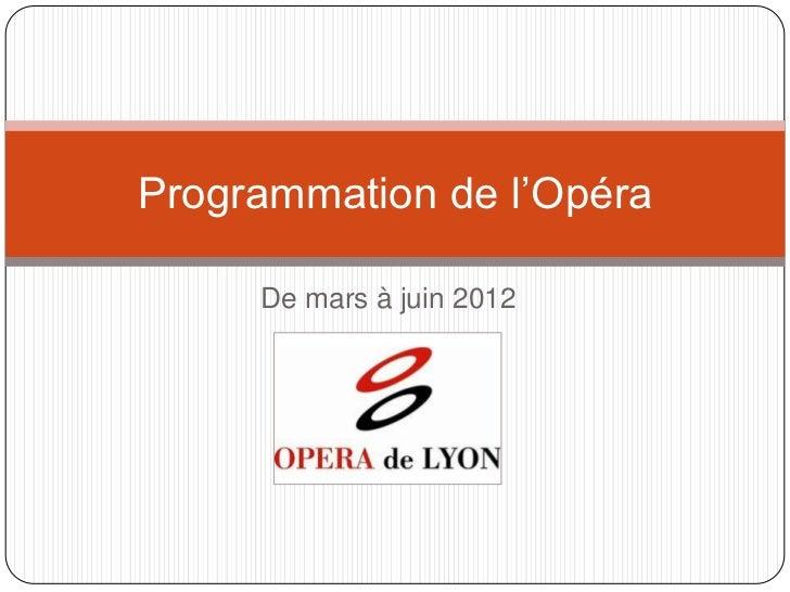 Programmation de l'Opéra     De mars à juin 2012