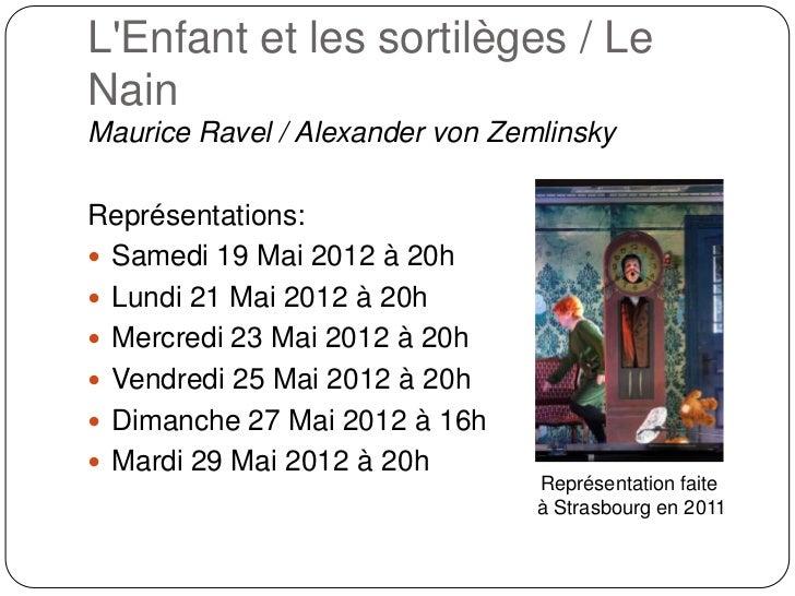 LEnfant et les sortilèges / LeNainMaurice Ravel / Alexander von ZemlinskyReprésentations: Samedi 19 Mai 2012 à 20h Lundi...