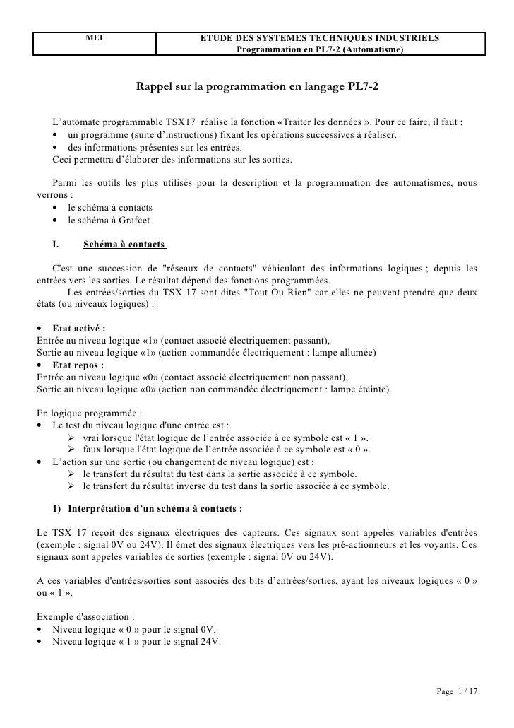 MEI                         ETUDE DES SYSTEMES TECHNIQUES INDUSTRIELS                                               Progra...