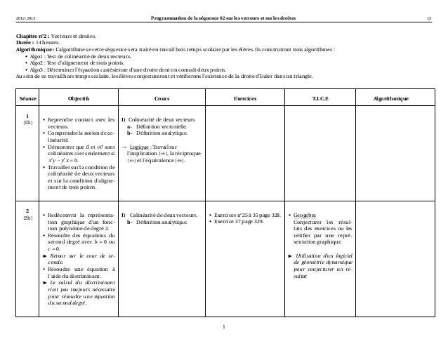 2012-2013                                                   Programmation de la séquence 02 sur les vecteurs et sur les dr...