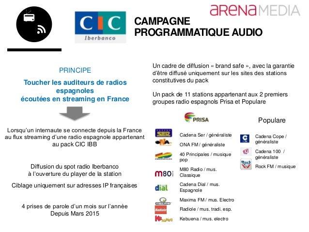 CAMPAGNE PROGRAMMATIQUE AUDIO PRINCIPE Toucher les auditeurs de radios espagnoles écoutées en streaming en France Lorsqu'u...