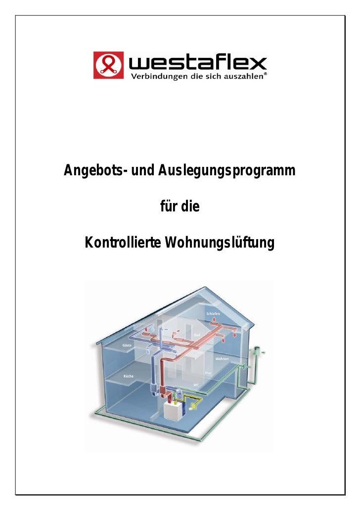 Angebots- und Auslegungsprogramm             für die  Kontrollierte Wohnungslüftung