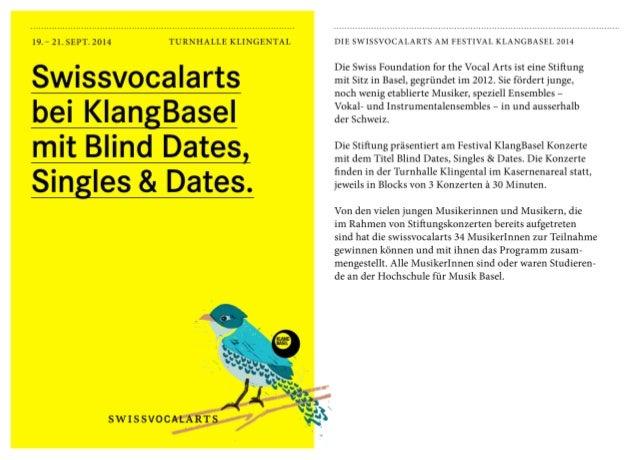 Swissvocalarts bei KlangBasel mit Blind Dates, Singles & Dates.