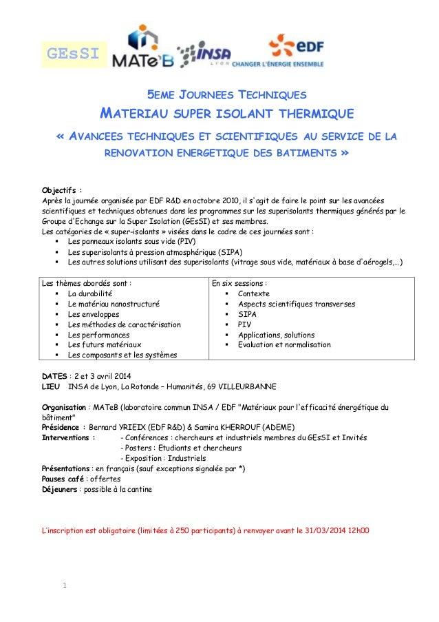 GEsSI 5EME JOURNEES TECHNIQUES  MATERIAU  SUPER ISOLANT THERMIQUE  « AVANCEES TECHNIQUES ET SCIENTIFIQUES AU SERVICE DE LA...