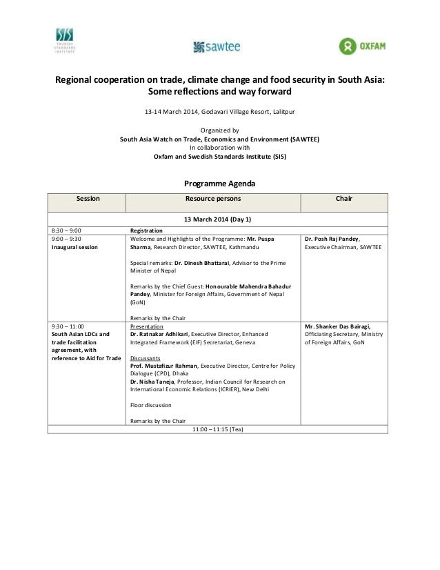 Regional cooperation on trade, climate change and food security in South Asia: Some reflections and way forward 13-14 Marc...