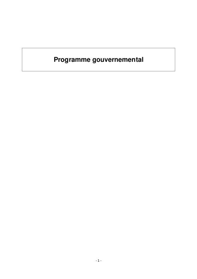 - 1 - Programme gouvernemental